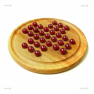 Natural Wood Games Solitaire Board with Lustered Red Glass Marbles
