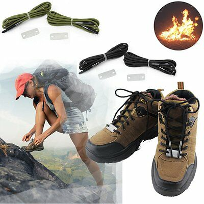 Outdoor Sport Camping Flint Fire Shoelaces Reflective Round Rope Survival Tools