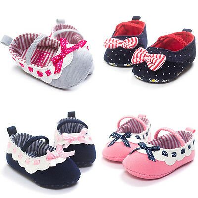 Toddler Prewalker Girls Bow Crib Shoes Newborn Infants Baby Soft Sole Sneakers