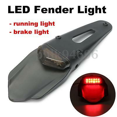 12V Universal Motorcycle Enduro Trial Dirt Bike Fender LED Stop Rear Tail Lights