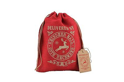 Delivered By Reindeer Mail Red Hessian Gift Bag