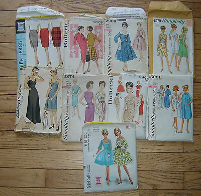 vintage SIMPLICITY ,BUTTERICK Womens SEWING PATTERNS, Dresses, skirts sz 12-14