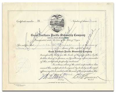 Great Northern Pacific Steamship Company Stock Certificate