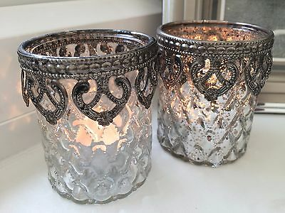 Set of 3 Vintage Style Heart Candle Tea Light Holder Christmas Table Decoration