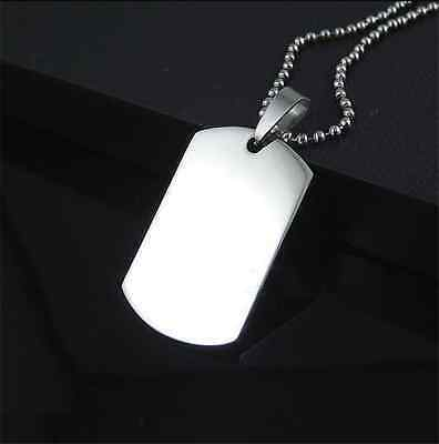 Stainless Steel Army Dog Tag Military Pendant Chain Silver Vouge Necklace