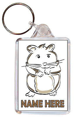 Personalised Hamster Keyring Children/Childs/Kids/ Gift School Name Bag Tag