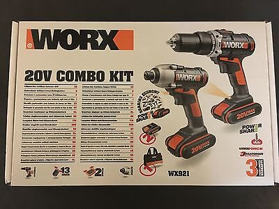 Worx WX 921 Twin Pack Hammer Drill and Impact Driver Combi Kit 240V
