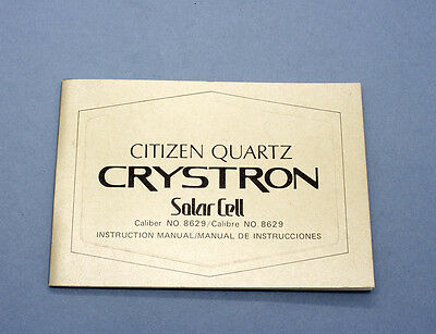 New old stock CITIZEN CRYSTRON SOLAR CELL care manual lcd cal 8629 , 861539 KA