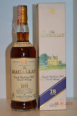 Single Malt Scotch Whisky MACALLAN 18 years old Vintage 1971 75cl with box