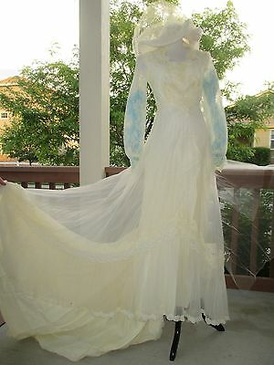 Vintage Alessandro Bridal Wedding Gown Lace Dress w/ Train Hat & Vail 1800