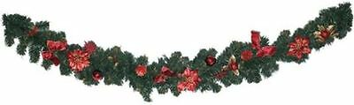 180cm Christmas Pine Cone Poinsettia Garland Fireplace Stair Banister Decoration