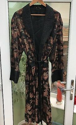 Vintage 40s 50s Silky Oriental Quilted Print Dressing Gown Smoking Jacket Size L