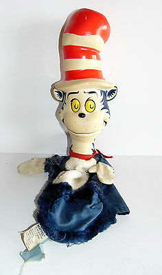 """Vintage 1970 - DR Seuss Cat in the Hat Hand Puppet 18"""" - Hong Kong"""