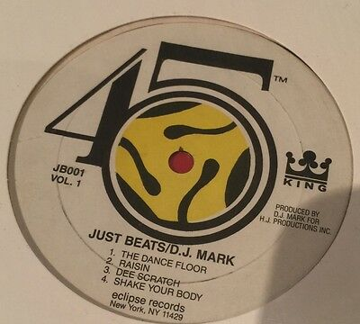 "D.J. Mark The 45 King ‎– Just Beats Vol. 1 (12"" EP) 1987 Eclipse Records Rare VG"