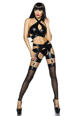 Sexy Wetlook Set Strapsgürtel Slip Stockings Erotik Lederoptik Schwarz XS S M L