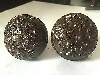 2 of 4 RARE ORNATE ANTIQUE CAST IRON ARTS CRAFTS DECO VICTORIAN DOOR KNOBS
