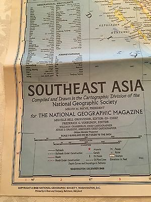 """Dec 1968 Southeast Asia National Geographic Society Map 33.5""""x26.5"""" Vol. 134 GUC"""