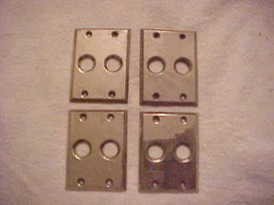 4 Vintage Small Nickel Plated Brass Single Push Button Switch Gang Plates