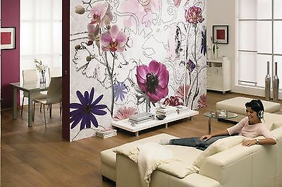 Wall Mural Photo Wallpaper PURPLE FLOWERS Abstract Living Room Bedroom Decor Art