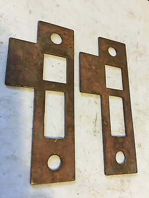 "2 Old Brass Plated Steel 3 3/8"" Door Jamb Mortise Lock Strike Plate Keeper Catch"