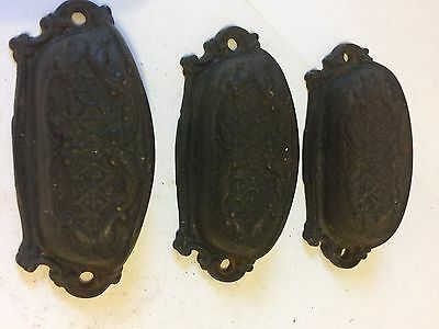 3 Old Cast Iron Arts Crafts Deco Victorian Cabinet Cupboard Drawer Bin Pulls