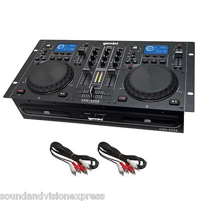 Gemini CDM-4000 Twin Dual CD MP3 USB Media Player + 2 Channel DJ Scratch Mixer