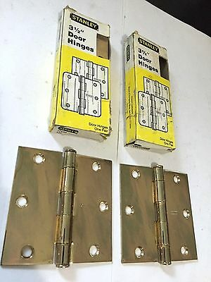 "4 Mission Arts Craft Deco Victorian Brass Plated Steel 3 1/2"" Stanley Hinges"