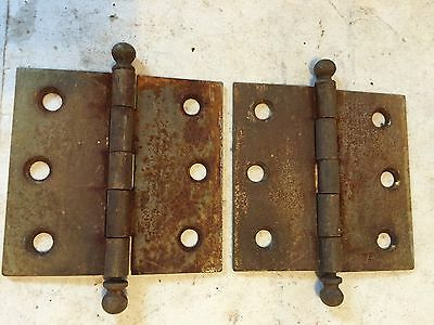 "2 Old Shabby Chippy Chic Steel Cupboard Cabinet Door Ball Tip Pin 2.5"" Hinges"