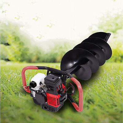 New 52cc Petrol Power Earth Auger Garden Tool Post Hole Ground Drill 3 Bits