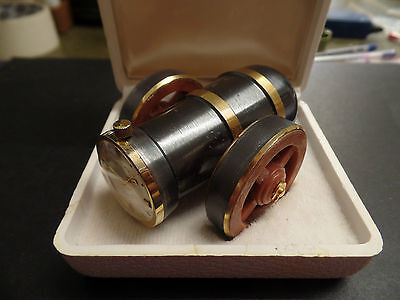 RARE VINTAGE BERGANA CANNON SHAPED DESK WATCH w BOX – GERMANY – UNUSUAL PUW 360