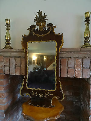 Stunning George Ii Revival Walnut Parcel Gilt Pier Hall Wall Mirror - Circa 1880