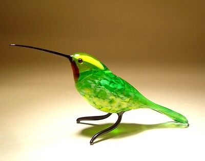"Blown Glass ""Murano"" Art Green & Yellow HUMMINGBIRD Bird Figurine w/ Red Throat"