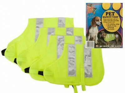 Dog High Visibility Hi Vis Safety Jacket Vest Puppy Yellow Walking Coats 4 Sizes