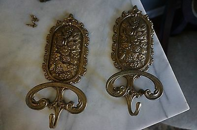 "Pair of His & Hers Ornate Solid Brass Clothes Towel Hooks 9.5"" x 4.5"" ~ ITALY"
