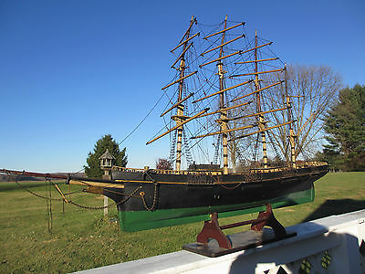 "LARGE ANTIQUE 1800s SAILING SHIP 4 MAST 48"" LONG HAND HOME MADE WOOD MODEL BOAT"