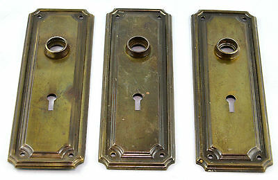 Vintage Door Hardware, Set of 4, Mortise Locks, Knobs and Face Plates