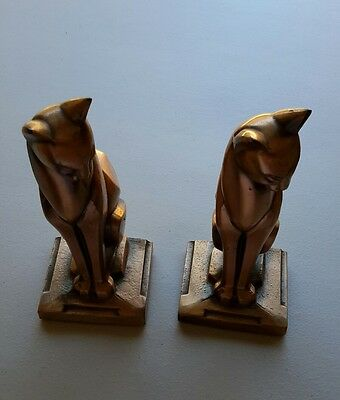 "Bookends Frankart Art Deco Metal Cats Gold Paint 7-1/2"" Tall Vintage"
