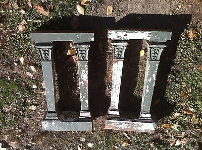 ANTIQUE Pair PIANO WOOD SALVAGE COLUMN POST SHELF BRACKET CORBEL ART