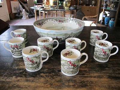 TALLY HO View Halloo Johnson Bros FOX HUNT 9pc Stirrup Cup Punch Bowl Set