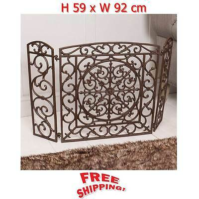 Retro Fireplace Fire Screen Antique Brown Vintage Fire guard Mesh Protection NEW