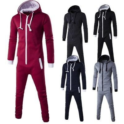 Unisex Mens Women Hooded Zip Playsuit Plain All In One Piece Jumpsuit New
