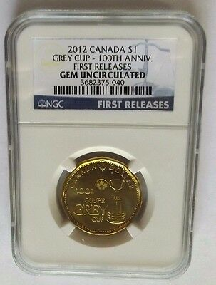 2012 Canada Ngc First Releases Gem Uncirculated Greycup 100Th Anniversary $1!!!