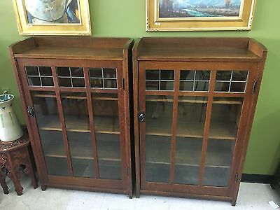 Rare Pair Gustav Stickley Leaded Bookcases