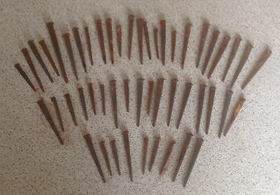 50 x Vintage Square Cut Clasp Nails Rusty - Various Sizes - Craft