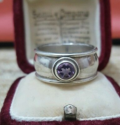 Vintage 925 Solid Silver Men's Ring Band With Amethyst Gemstone, Size P½, 9 Gr