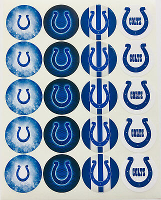 """SET of 20- 2"""" INDIANAPOLIS COLTS ADHESIVE STICKERS. Make Cupcake Toppers & more"""