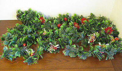 2 Strands Vintage Plastic Christmas Garland Holly Presents Candy Cane