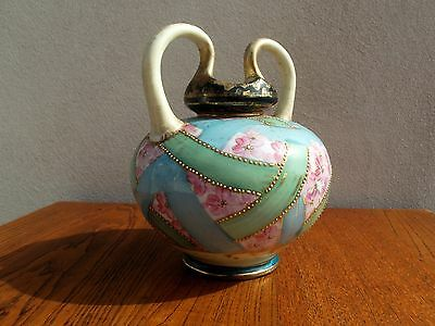 Nippon Hand Painted Two Handle Vase Gold Accents