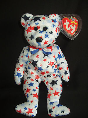 Nwt Ty Beanie Baby Red, White And Blue Bear
