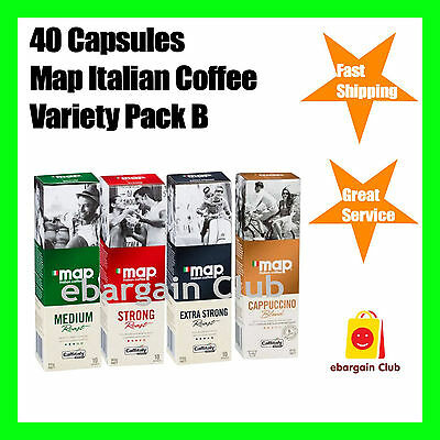 40 Capsules Map Italian Coffee Variety Pack B Mix Capsule Pod Caffitaly System